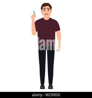 The guy holds a pencil, cartoon character vector illustration - Stock Image
