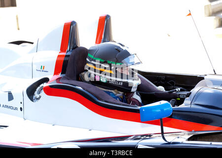 Tommy Dreelan sitting in the cockpit of his 2009, Oreca LMPC, at the 2019 Silverstone Classic Media Day - Stock Image
