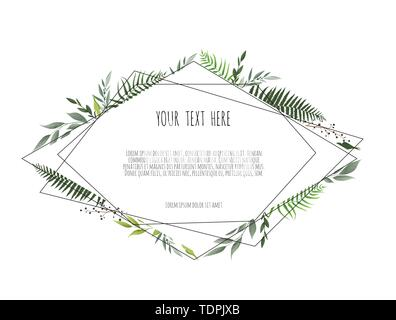 Card with leaves and geometrical frame. Floral poster, invite. Vector decorative greeting card, invitation design background. - Stock Image