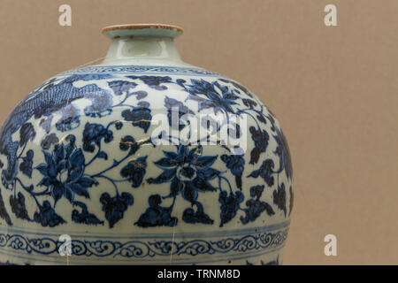 Part of Blue and White Porcelain Jar in Iran National Museum which was originally from China of Yuan dynasty, 1271-1368 CE - Stock Image