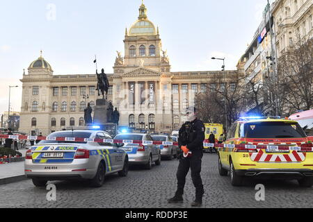 Police confirm that man, born in 1964, poured combustible on him and set himself on fire at Wenceslas Square in Prague, Czech Republic, on January 18, 2019. His face and hands are burnt. (CTK Photo/Ondrej Deml) - Stock Image