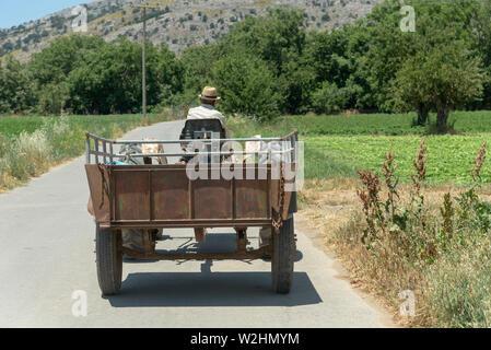 Crete, Greece. June 2019. Farmer driving a tractor and trailer on the Lasithi Plateau, Crete,Greece. - Stock Image
