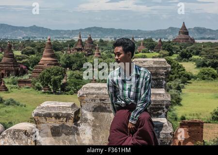 A local tourist at Bagan, Myanmar. - Stock Image