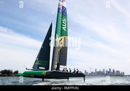 Sydney, Australia. 16th Feb, 2019. Australian SailGP team competes during the first SailGP event at the harbor in Sydney, Australia, Feb. 16, 2019. Credit: Bai Xuefei/Xinhua/Alamy Live News - Stock Image