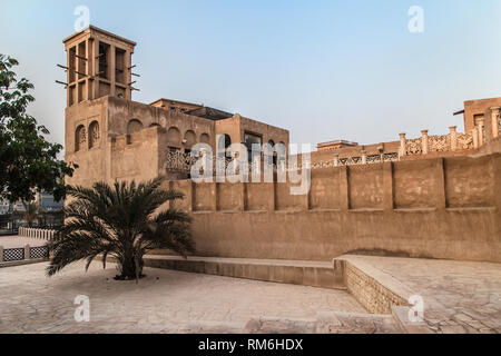 Traditional building in Al Bastakiya historical district, Dubai, United Arab Emirates. - Stock Image