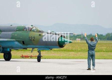 Croatian Air Force MiG-21 BISD fighter, Pleso AFB during 'open day' visit in 2007 - Stock Image
