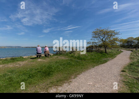 Chichester harbour pathway, between, east head and Itchenor, West Sussex - Stock Image