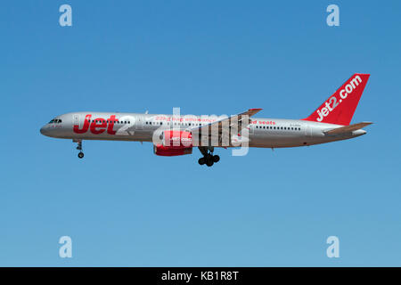 Low cost air travel and mass tourism. Boeing 757-200 passenger jet belonging to British budget airline Jet2 on approach - Stock Image