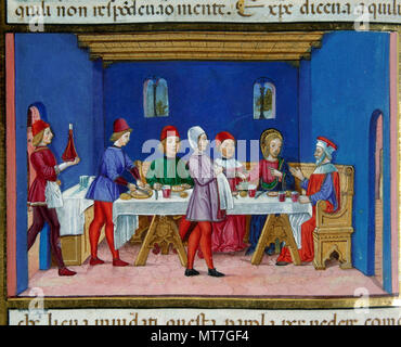 Cristoforo de Predis (1440-1486). Italian miniaturist. Jesus during the meal at the Pharisee's house. So Jesus asked: 'Is it lawful to heal on the Sabbath or not? '.  Codex of Predis, 1476. Royal Library. Turin, Italy. - Stock Image