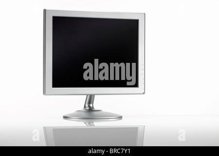 Silver LCD monitor - Stock Image