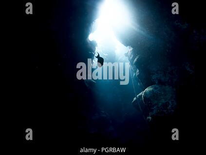 Fish swim through a beautiful underwater coral cave in the Red Sea - Stock Image