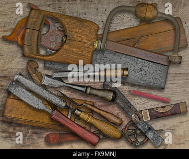 vintage woodworking  tools over wooden bench - Stock Image