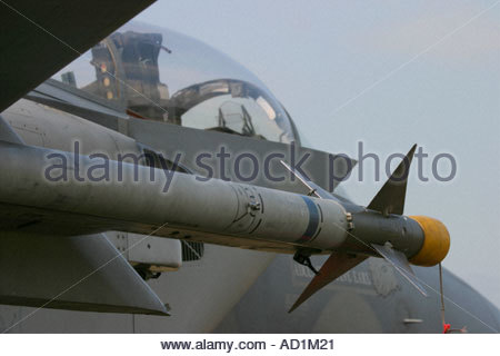Zeltweg 2005 AirPower 05 airshow Austria, Eagle F15 USAAF Sidewinder AA missile - Stock Image