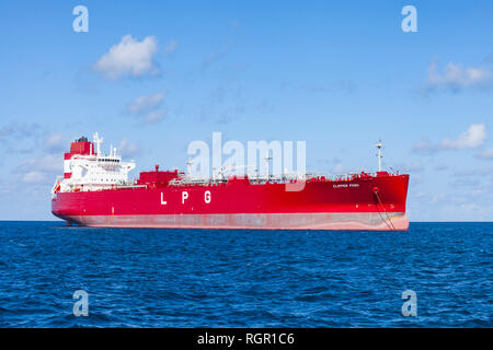LPG tanker ship, Clipper Posh, Caribbean seas. - Stock Image