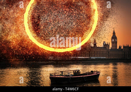 Apocalypse End of Times digital concept of explosion at Houses of Parliament, Westminster, London, UK - Stock Image