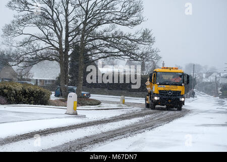 1st March 2018 – UK Weather, Portishead, N. Somerset : The icy weather and snow arrived in Somerset during - Stock Image