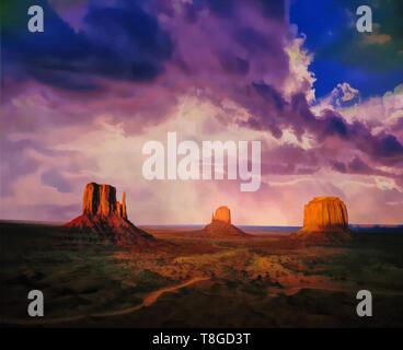 DIGITAL ART: Monument Valley Navajo Tribal Park, Arizona, USA - Stock Image