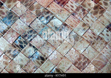 Woven snake skin on illegal fashion accessories - Stock Image