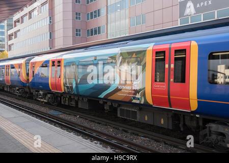 South West Trains EMU with Caz Martin Art -1 - Stock Image