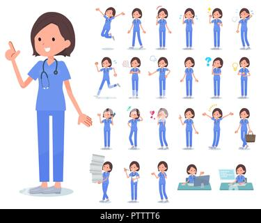 A set of Surgical Doctor women with who express various emotions.There are actions related to workplaces and personal computers.It's vector art so it' - Stock Image