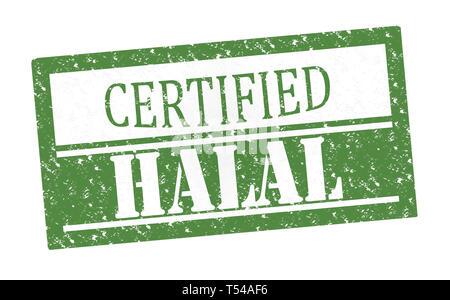 Rubber Stamp Halal , text on white illustration - Stock Image