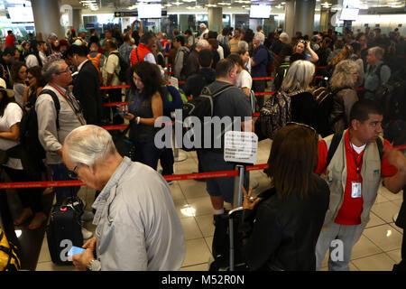 traveler Lines at customs airport San Jose Costa Rica - Stock Image