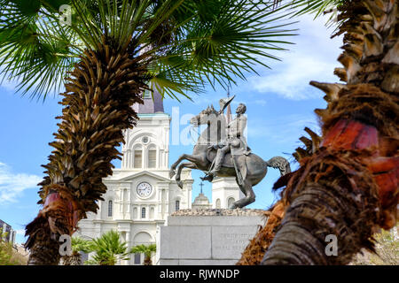 Andrew Jackson statue by sculptor Clark Mills, Jackson Square with St Louis Cathedral in the background, New Orleans French Quarter, USA - Stock Image