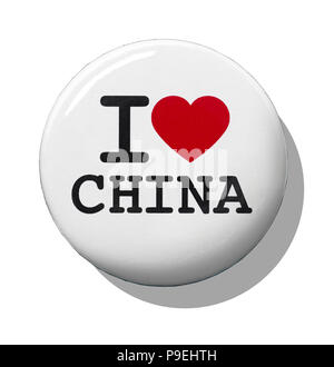 A white I love China badge - Stock Image