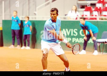 Kraljevo, Serbia. 16th September 2018. N. Sriram Balaji of India in action in the first reverse singles match of the Davis Cup 2018 Tennis World Group Play-off Round at Sportski Center Ibar in Kraljevo, Serbia. Credit: Karunesh Johri/Alamy Live News. - Stock Image