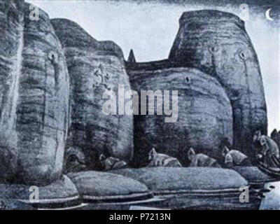 Work by Nicholas Roerich . before 1947 10 Crypt-1915.jpg!PinterestLarge - Stock Image