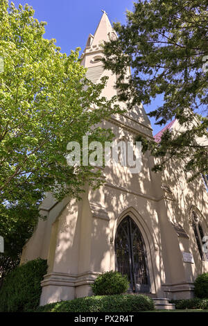 Historical St John's Episcopal Church front exterior entrance in Montgomery Alabama, USA. - Stock Image
