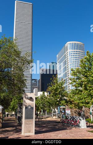 Downtown skyscrapers Market Square Houston Texas USA - Stock Image