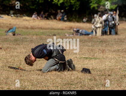 Duncan Mills, CA - July 14, 2018: Wounded soldier at a Northern California's Civil war reenactment. The Civil War Days is one of the largest reenactme - Stock Image