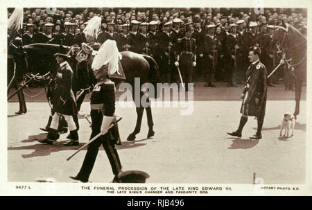 The funeral procession of Edward VII, including his favourite dog Caesar. - Stock Image