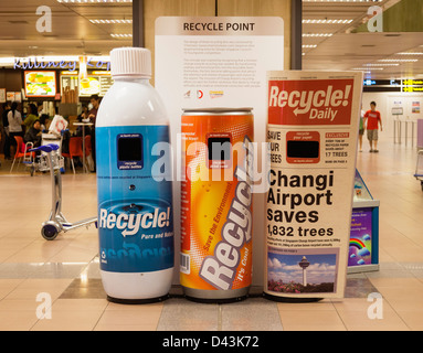 Recycling bins at Singapore Changi International Airport - Stock Image