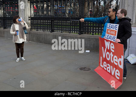 A tourist asks for a selfie with a pro-Brexiter outside the UK Parliament in a week that Prime Minister Theresa May asks for MPs to back her Brexit deal, on 14th January 2019, in Westminster, London, England. - Stock Image