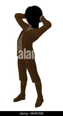 Victorian boy silhouette on a white background - Stock Image