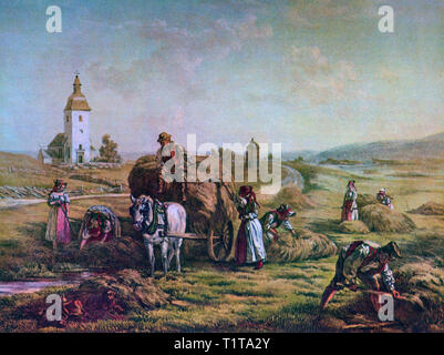 Collecting the harvest in 19th Century Närke, a Swedish traditional province, or landskap, situated in Svealand in south central Sweden. - Stock Image