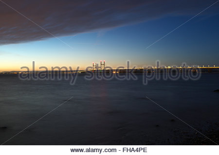 The Second Severn Crossing - the bridge to carry the M4 motorway from England to Wales. Evening view from South - Stock Image