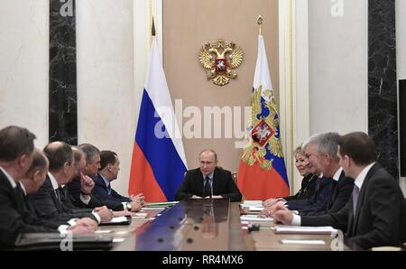 Moscow, Russia. 22nd Feb, 2019. Russian President Vladimir Putin chairs a meeting of the permanent members of the Security Council of the Russian Federation at the Kremlin February 22, 2019 in Moscow, Russia. Credit: Planetpix/Alamy Live News - Stock Image