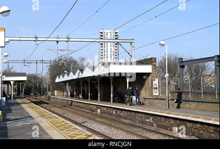 Tottenham London UK - White Hart Lane Railway station used by football fans going to Spurs matches  Photograph taken by Simon Dack - Stock Image