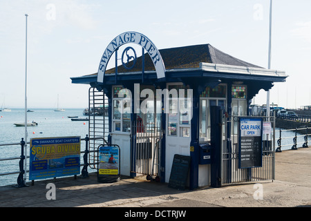 Entrance booth for Swanage Pier, Dorset - Stock Image