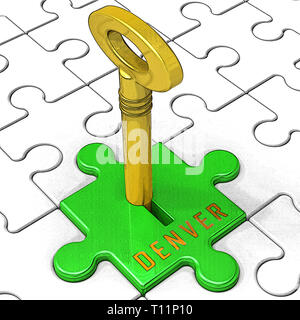 Denver Real Estate Key Illustrates Colorado Property And Investment Housing. Realty Purchasing And Selling - 3d Illustration - Stock Image