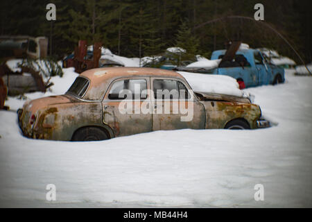 Side view of a 1960 Mercedes-Benz 190, burried in the snow, in a wooded area, in Noxon, Montana.  This image was shot with an antique Petzval lens and - Stock Image