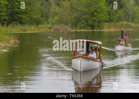 Steamboat enjoying the Haines Creek River in Leesburg, Florida USA - Stock Image