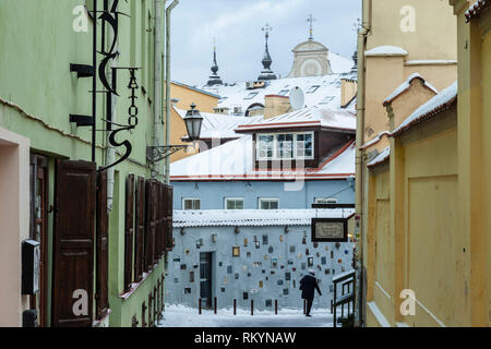 Winter day in Vilnius old town. - Stock Image
