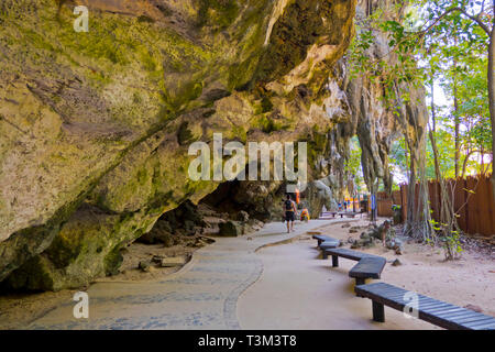 Trail between Hat Thram Phra and Railay East Beach, Railay, Krabi province, Thailand - Stock Image