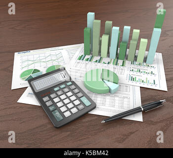 3d Illustration of Financial documents, 3D graphs and pie charts on wooden background. Pen and Calculator. Green Theme. - Stock Image