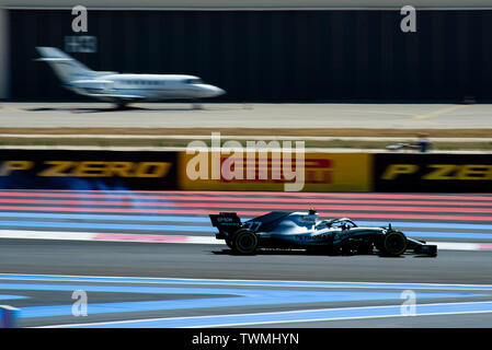 Marseille, France. 21st Jun 2019. FIA Formula 1 Grand Prix of France, practise sessions; Valtteri Bottas of the Mercedes Team in action with the Castellet airport in the background during the free practice 2 Credit: Action Plus Sports Images/Alamy Live News - Stock Image