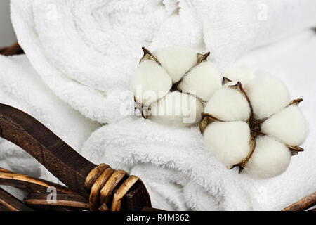 Laundry basket filled white fluffy towels and cotton boll flowers. Focus on foreground with blurred background. - Stock Image